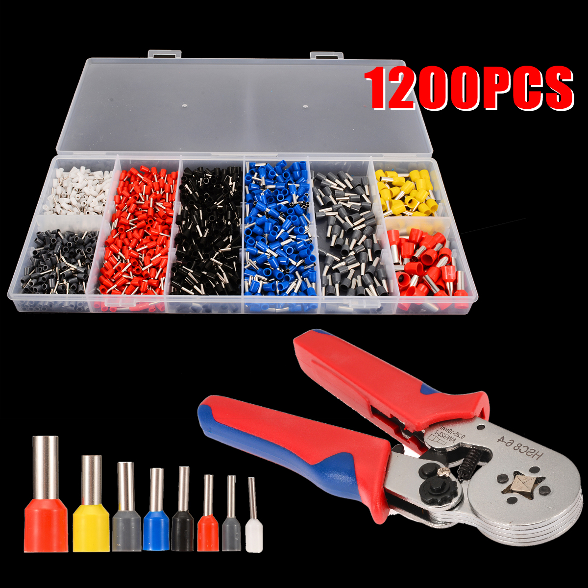 Crimping Pliers Mini 1200pcs 0.5-10.0mm2 Electric Tube Terminals Multitool Adjustable Crimping Press Pliers Hand Tools