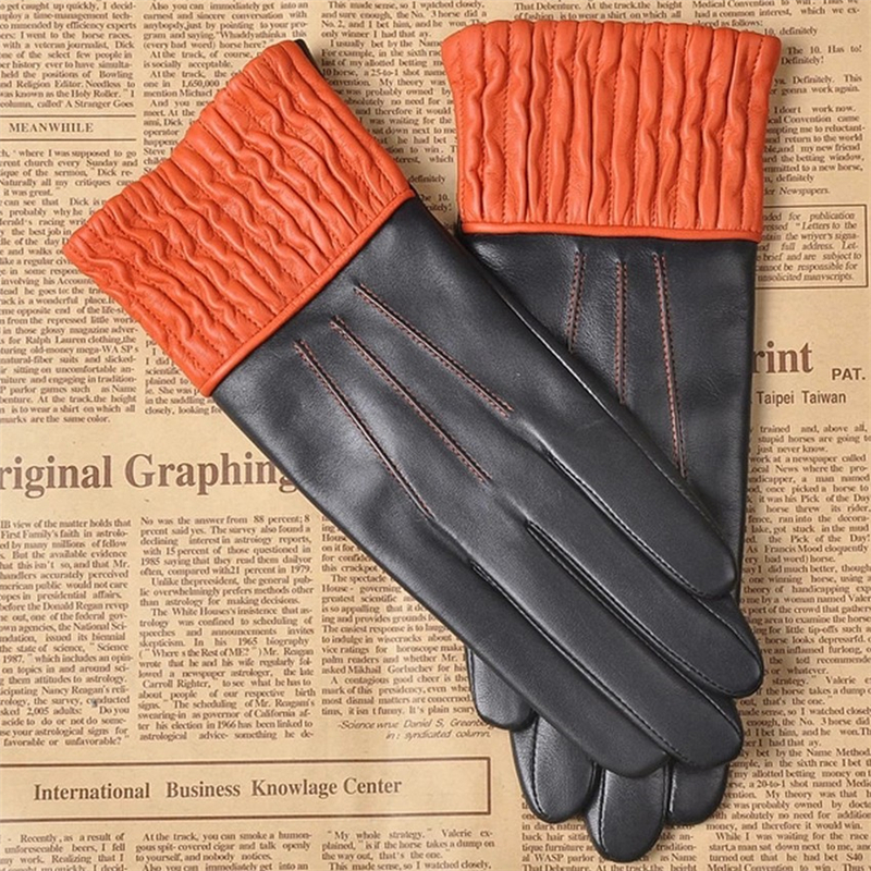 Brand Genuine Leather Gloves High Quality Women Sheepskin Gloves Two Tone Winter Plus Velvet Finger Driving Glove L150NC in Women 39 s Gloves from Apparel Accessories
