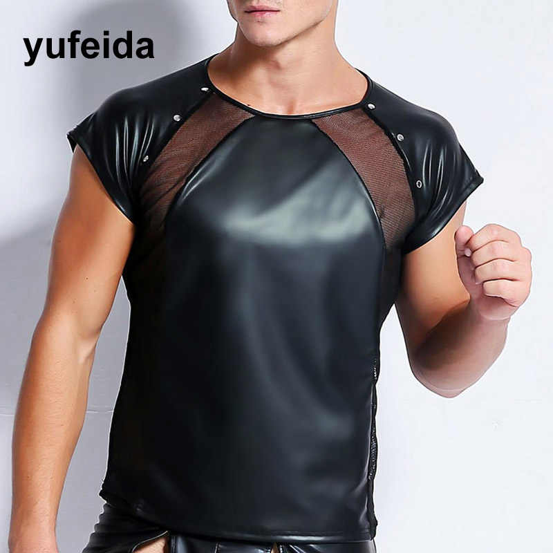 7056acdd55f Sexy Lingerie PU Leather Mesh T Shirts Male Mesh Patchwork Undershirts Men  Tees Tight Shirts Male