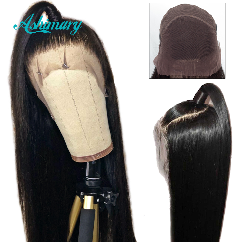 Ashimary Wigs Human-Hair Lace-Frontal Black Women Brazilian Pre-Plucked Straight