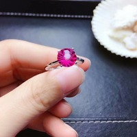 shilovem 925 silver sterling rings natural topaz pink woman open trendy fine new gift Jewelry wedding plant mj0808934agfb