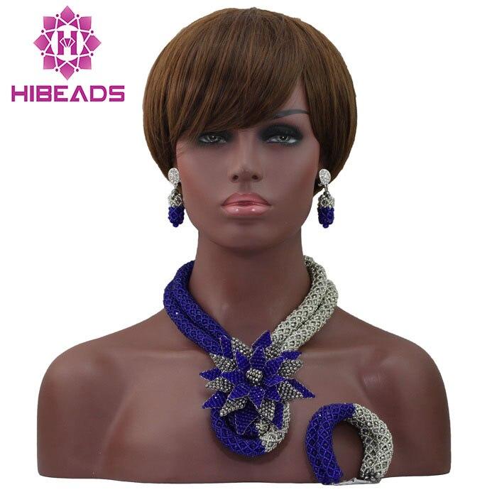 Ensemble de bijoux africains populaires Costume de mariage nigérian collier de perles africaines ensemble belle fleur livraison gratuite ALJ849