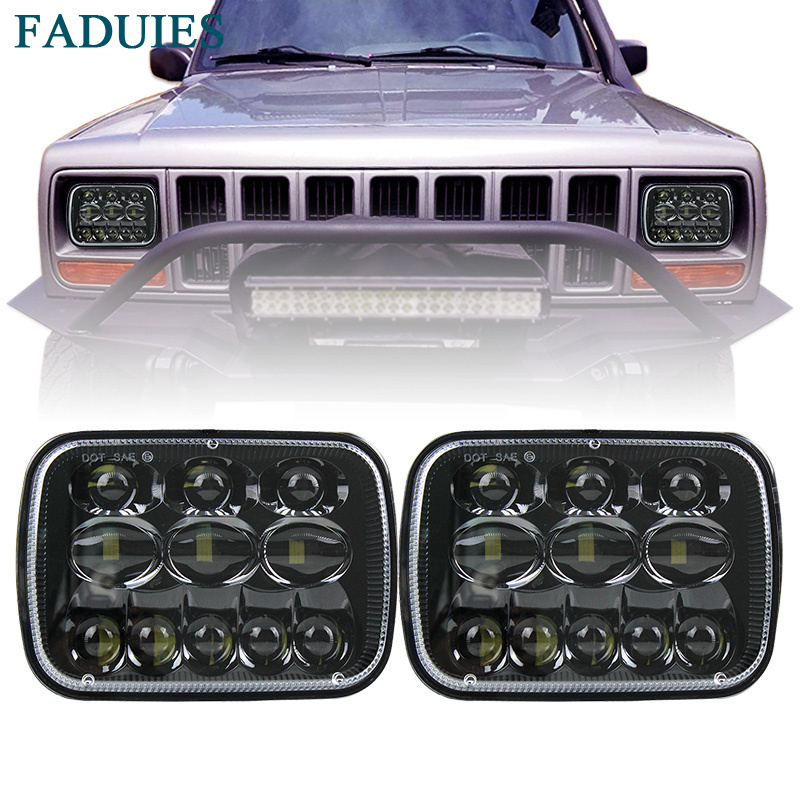 FADUIES 1 Pair 5X7 7X6 inch Rectangular Sealed Beam LED Headlight For Jeep Cherokee H6014 H6052 H6054 H6052 LED Headlight