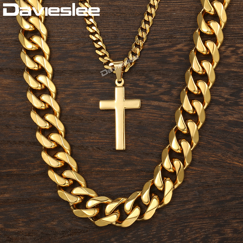 Davieslee Necklace For Men Cross Pendant Double Chain Gold Tone Stainless Steel Cuban Link Men's Necklace DDN07 double ring letter link chain pendant necklace