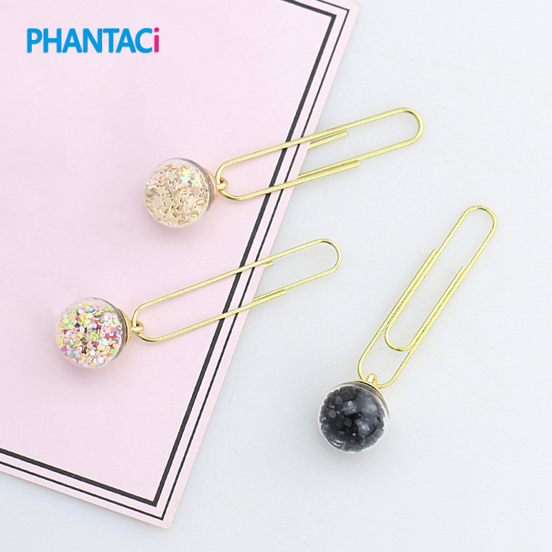 5 Pcs/set DIY Cute Metal Glass Ball Paper Clip Creative Office Bingding Supplies For Notes Letter Paper Bookmark Binder Clips