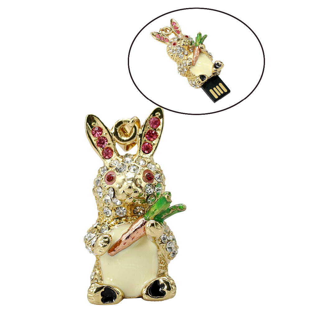 font b Diamond b font rabbit usb flash drives thumb pendrive crystal animal u disk