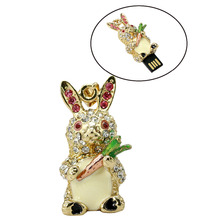 Diamond rabbit usb flash drives thumb pendrive crystal animal u disk necklace usb memory stick 4GB 8GB 16GB 32GB 64GB