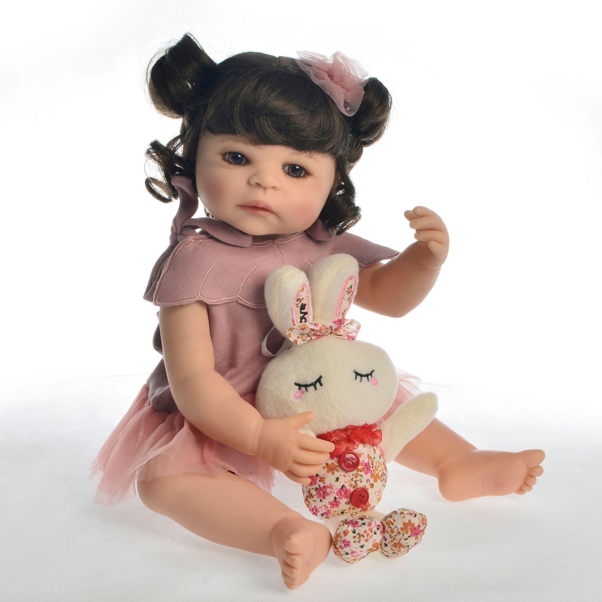 Réaliste silicone poupées reborn bébé fille 55 cm bebes reborn bébés bébé poupées yeux bruns pour nouveau-né poupée fête cadeau infantile jouet