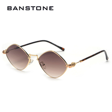 BANSTONE Lozenge Sunglasses Men Women Retro Metal Frame Shad