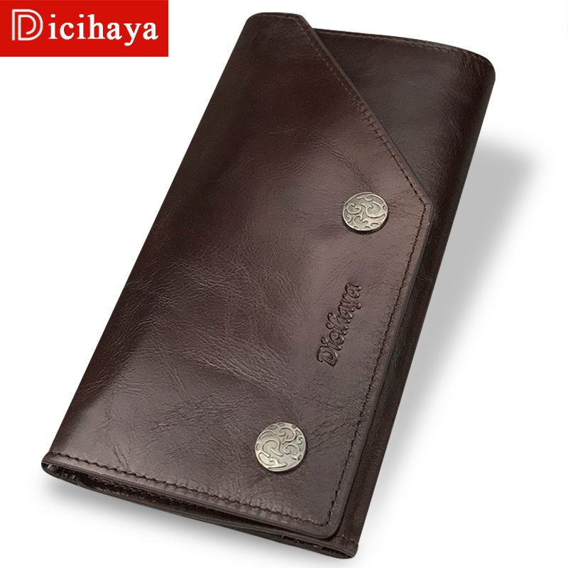 DICIHAYA Brnad Genuine Leather Men Wallets Vintage Trifold Wallet Zipper Coin Pocket Purse Soft Cowhide Leather Wallet For Mens