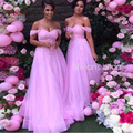 Pink Bridesmaid Dresses 2017 A Line Off the Shoulder Wedding Formal Wear Maid Of Honor Tulle Lace Bride Girls Party Gowns
