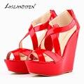 LOSLANDIFEN Patentes Plataforma Peep Toe Bombas de Las Mujeres Cuñas de Tacón Alto Zapatos de Las Mujeres Zapatos de Boda de TAMAÑO EE.UU. 4-11 391-10 PA