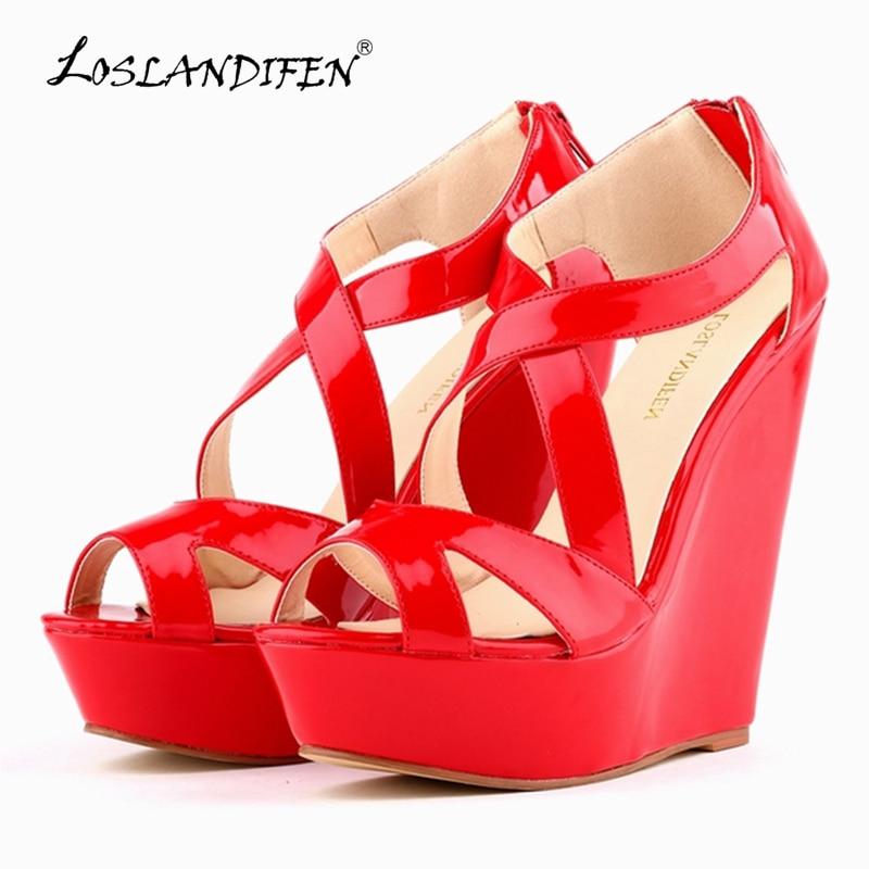 LOSLANDIFEN Women Pumps Patent Platform Peep Toe Wedges High Heel Shoes Women Wedding Shoes SIZE US