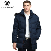 SCOTCH CCWZ Brand Long Fashion Thick Winter Jacket Men Parkas Business Warm Outerwear Jackets And Coats For Men Clothing 9908