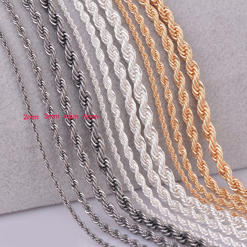 product 1 piece silver plated gold plated Gunmetal black Rope chain personalzied length 2mm 3mm 4mm 5mm
