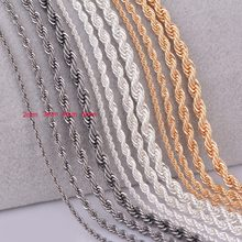 1 piece silver gold Gunmetal black Rope chain personalzied length 2mm 3mm 4mm 5mm(China)
