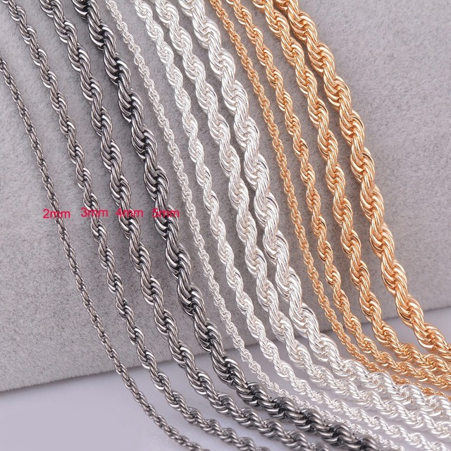 1 piece silver gold Gunmetal black Rope chain personalzied length 2mm 3mm 4mm 5m