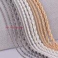 1 unidades de plata chapado en oro chapado en Bronce de Cañón negro Cuerda cadena personalzied longitud 2mm 3mm 4mm 5mm