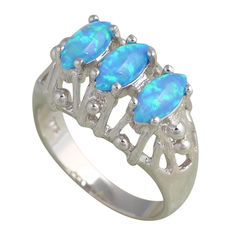 443a17715a5758 Romantic style Wonderful gift Three pieces Blue fire Opal Silver Stamped  Rings for women fashion jewelry USA sz 6 7 8 9 OR672A