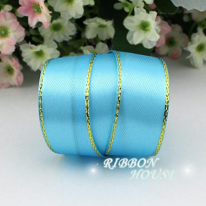 (25 ярдов/рулон) 3/4 »(20 мм) небо Синяя атласная лента золотой край оптовая продажа высокое качество подарочная упаковка ленты