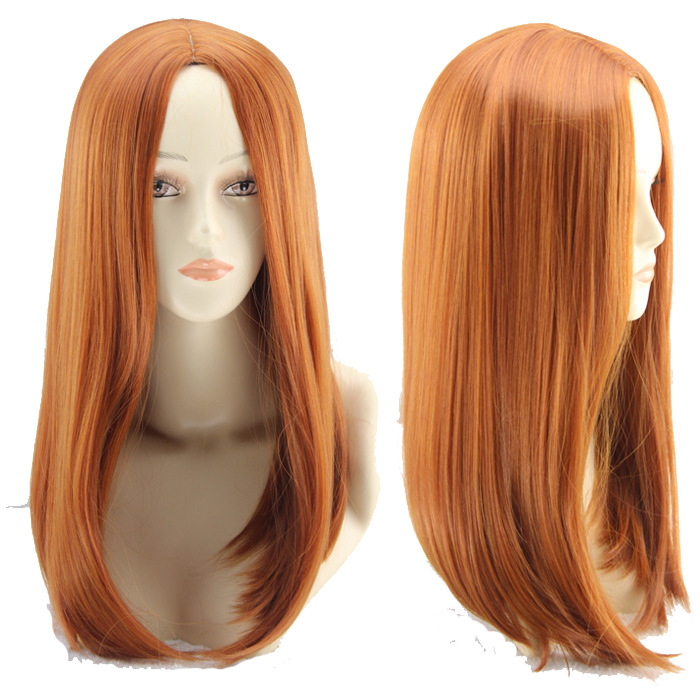 Anime Costume Orange Straight Long Synthetic Wig Central Part Heat Resistant Hair for Cosplay Party Halloween Peruca Peluca
