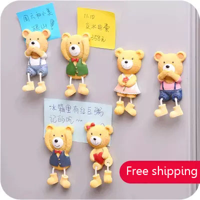 kitchen magnets log cabin cabinets creative resin bear fridge magnet 3d simulation refrigerator removable home toys in from garden on