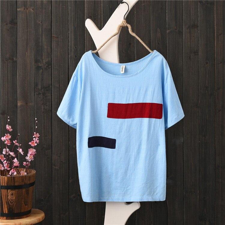 Summer New Cotton and Linen Women T-shirt Art Retro Round Neck Loose Cloth Simple Linen Hit Color Large Size Shirt