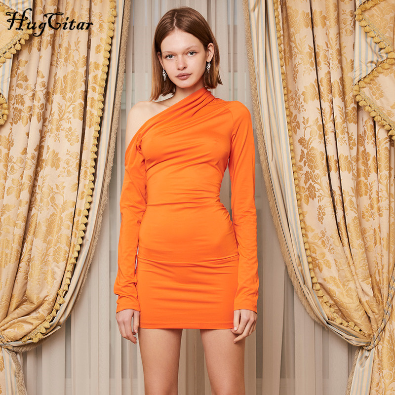 Hugcitar Neon Orange Long Sleeve Solid Sexy Dress 2019 Autumn Winter Women Party Streetwear Club Outfits Dresses