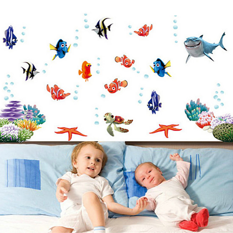 Unterwasser Fisch Bubble Nemo Bad Wandaufkleber Cartoon Wandaufkleber Fur Kinderzimmer Wohnkultur Kindergarten Wandtattoo Poster Sticker For Kids Room Cartoon Wall Stickerswall Stickers For Kids Aliexpress