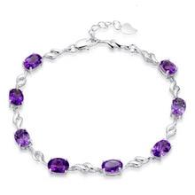 100% 925 sterling silver fashion purple crystal ladies`bracelets jewelry no fade cheap bracelet female women birthday gift
