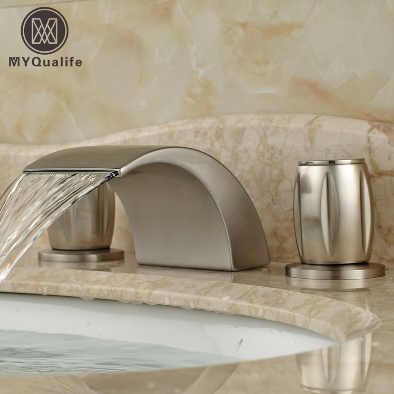 Dual Handle Curve Spout Waterfall Basin Mixer Taps Deck Mount 3 Holes Bathroom Faucet Brushed Nickel Finish