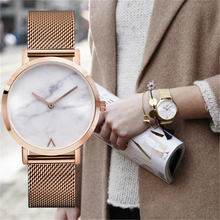 Eutour rose gold ultra thin bracelet watches women's fashion watch 2017 Hot ladies Marble Watch women Clock quartz Wristwatches