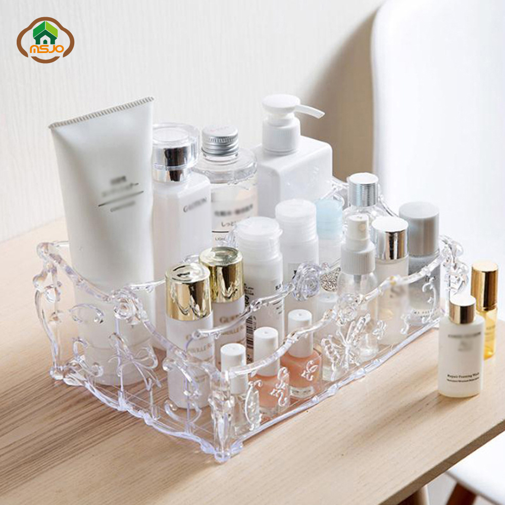 Cosmetic Table Us 2 1 39 Off Msjo Makeup Organizer Plastic Cosmetic Storage Box Dressing Table Necklace Nail Polish Earring Plastic Makeup Organizer Box In Makeup