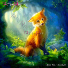 цена на Peter ren Diamond Embroidery Animal Fox Full rhinestones Diamond Painting Cross Stitch Crafts gift crystal Mosaic Wall Paintings
