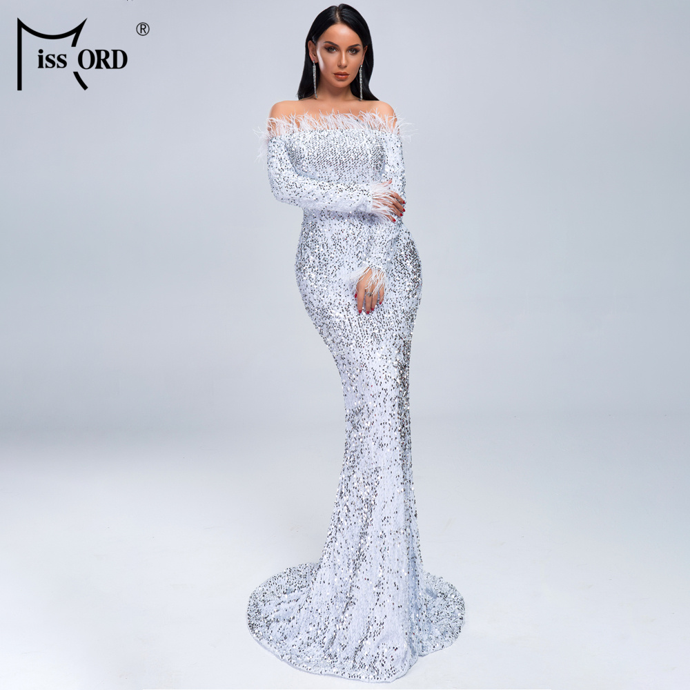 HTB1pGbiXfWG3KVjSZFgq6zTspXaw - Missord Sexy Off Shoulder Feather Long Sleeve Sequin floor length Evening Party Maxi Reflective Dress Vestdios FT19005