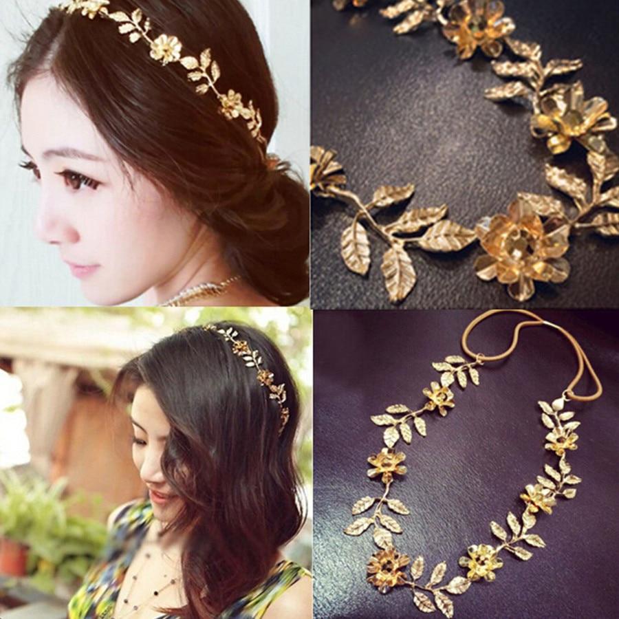 Women Elastic Gold Leaves Crystal Flower Headbands
