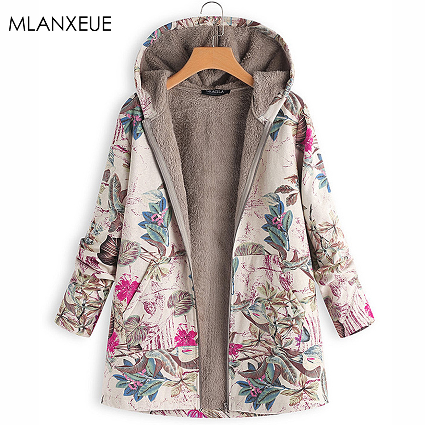 Mlanxeue Print Plus Size Winter Down Cotton Liner Women Pockets Hoodies Loose Warm