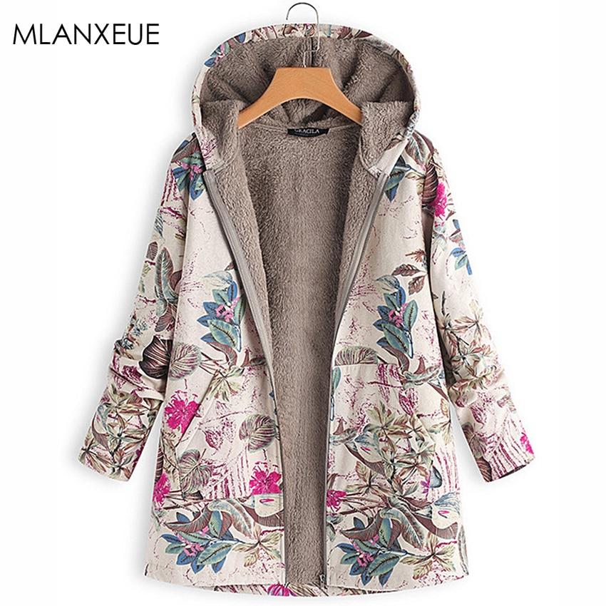 Print Plus Size Winter Parka   Down   Cotton Liner Hoodies Parka Women Pockets Hoodies Parkas Loose Warm Ladies Parka   Coats   Autumn