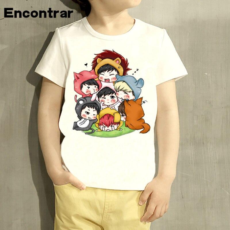 kids Kpop Got7 Member Cartoon Design TShirt Boys/Girls Great Casual Short Sleeve Tops Children Cute T-Shirt,HKP5119