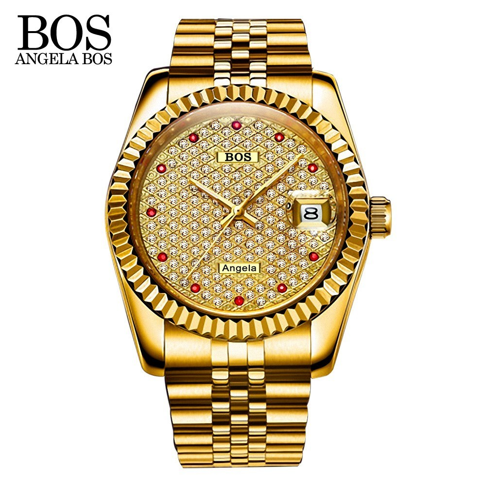 ANGELA BOS Rhinestone Stainless Steel Gold Mens Watches Top Brand Luxury Watch Men Mechanical Automatic Date Chinese Wrist Watch