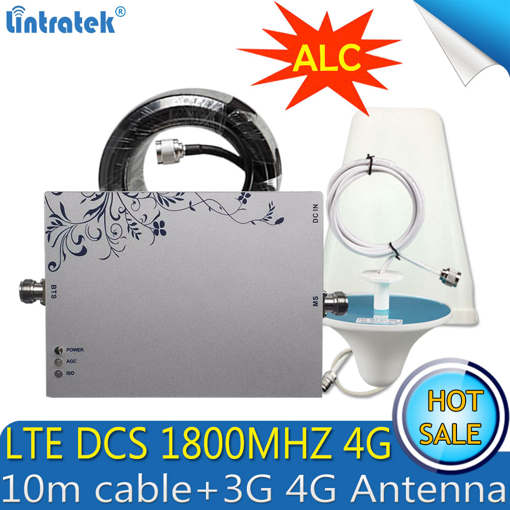 Lintratek GSM LTE 1800mhz 2G 4G ALC Cell Phone Signal Repeater DCS 1800MHz Mobile Amplifier GSM Signal Booster 4G Antenna