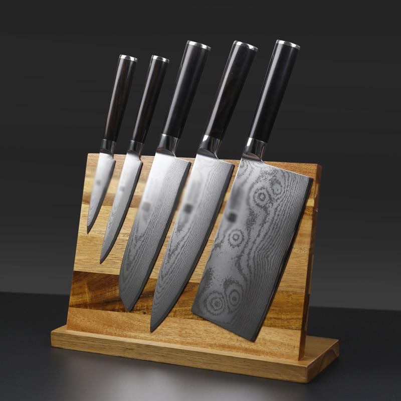 Ev ve Bahçe'ten Bloklar ve Rulo Çantalar'de Katı ahşap Güçlü Manyetik Bıçak Tutucu Mutfak Şef Pişirme Araçları Bıçak Standı Çok Fonksiyonlu Mıknatıs bıçak rafı Blok Yemek'da  Grup 1