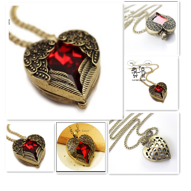 2017 New Fashion Retro Sweater Chain Love Vintage Red Hearts Design Long Necklace Angel Wings Pendant Necklaces for Women
