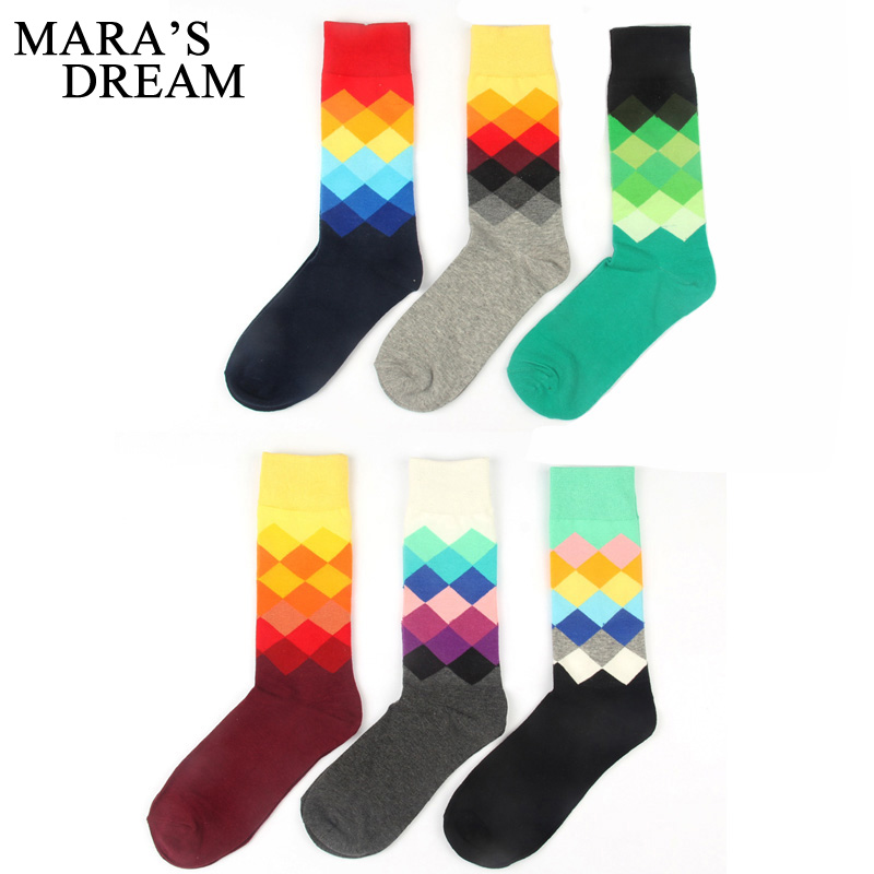 Maras Dream creative large size men cotton socks for man discolor diamond plaid socks autumn winter male colorful long socks