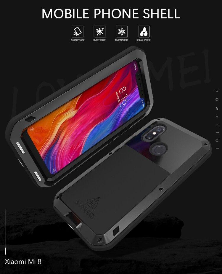 Pour Xiao mi mi 8 étui étanche rigide antichoc Alu mi num couvercle en métal pour Xiao mi 8 étui de téléphone pour xiaomi 8