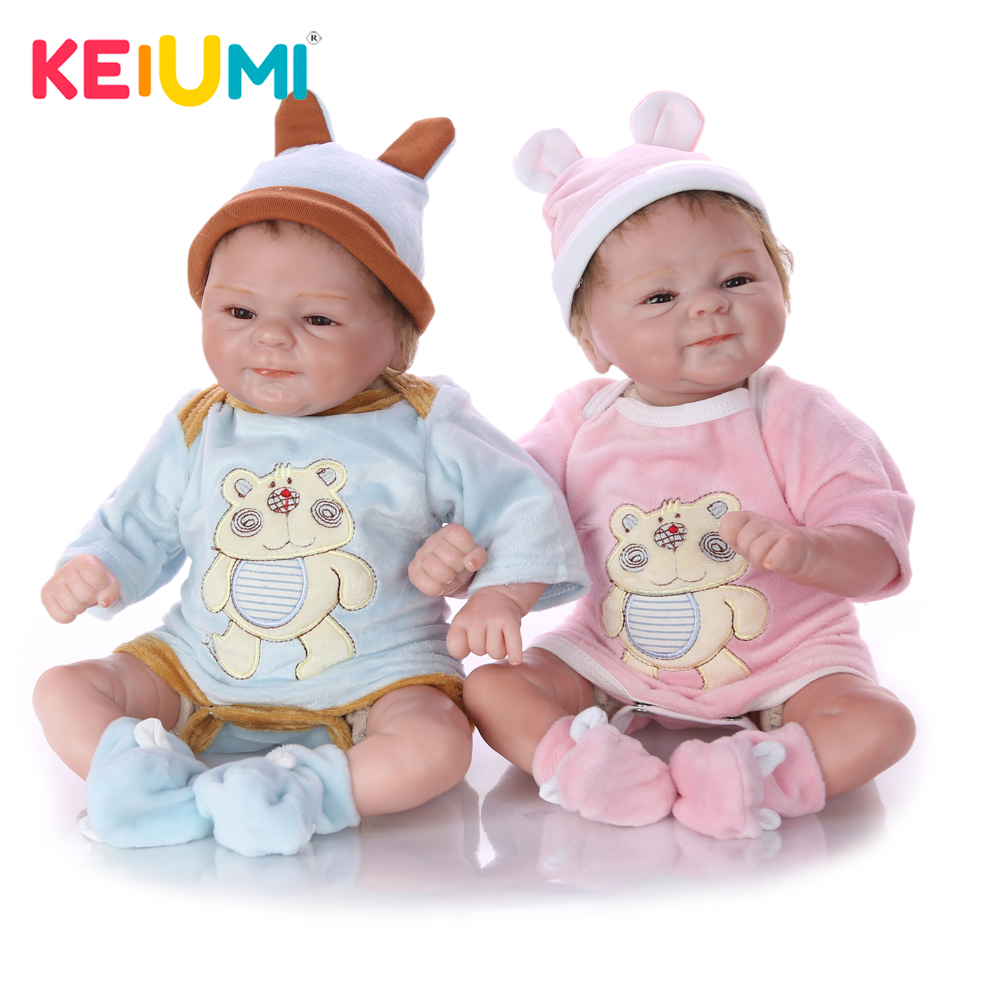 KEIUMI śliczne Twin 17 ''Cal 43 cm realistyczne Reborn Baby Doll miękkie silikonowe Reborn małe dzieci zabawki na boże narodzenie prezenty w Lalki od Zabawki i hobby na  Grupa 1