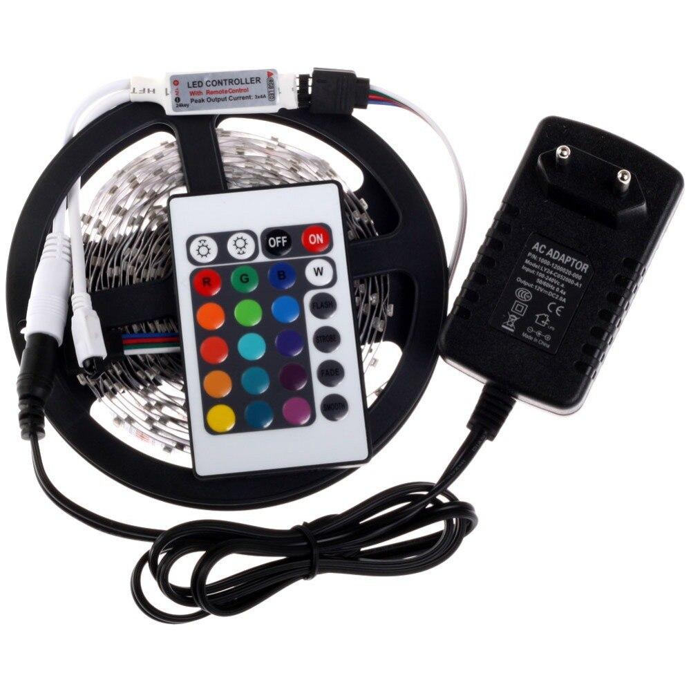3528 RGB LED-szalag 300Leds / 5M SMD + 24Key IR távirányító + 12V - LED Világítás