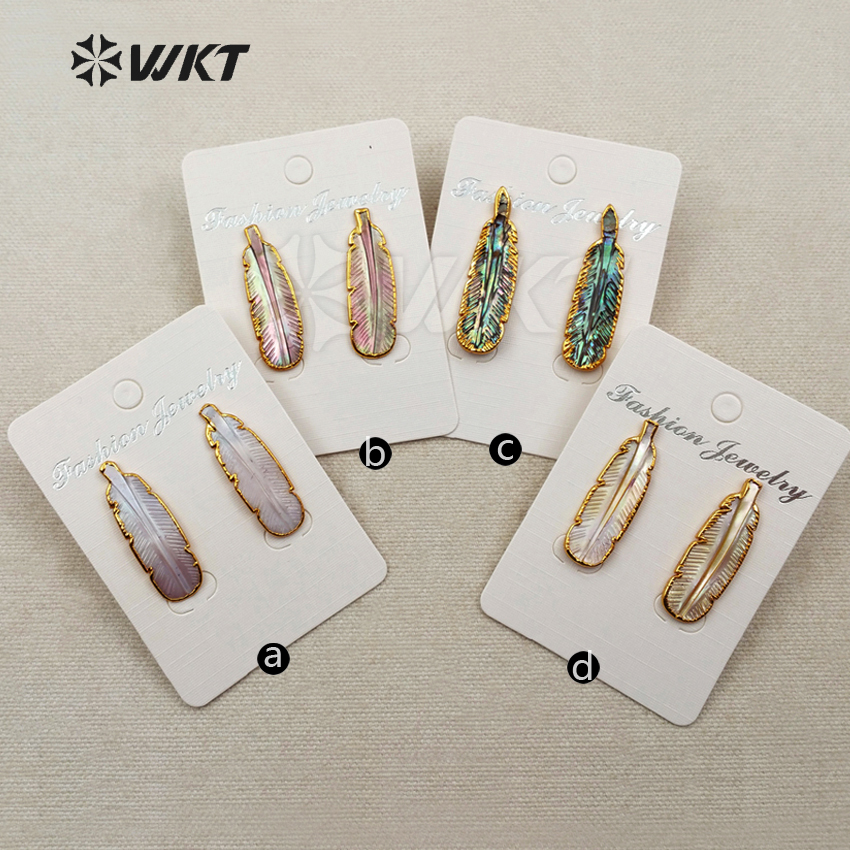 WT E355 Wholesale fashion jewelry natural abalone shell stud earrings with 24K gold trim feather shape