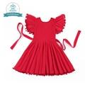 Девушки Одеваются костюм 2016 Детская Одежда День Рождения Принцессы платья Рождество платье Для Девочек Красные Кисти платье