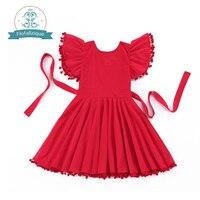 Baby Flower Girls Dress 2016 Summer Brand Fashion Birthday Party Princess Dresses Cute Red Tassels Dress